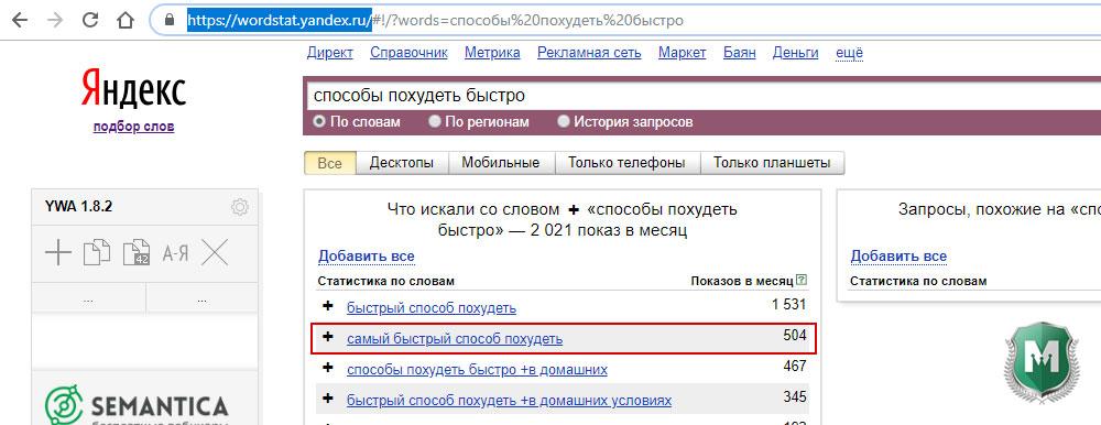 писать статьи для сайта: WordStat Yandex